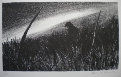 "Edward Glannon, ""Man in Field of Tall Grass"", 1976, lithograph, 2009.2.6"